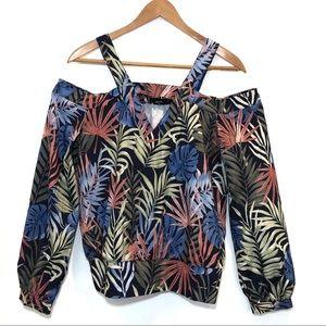 bebe Palm Print Cold Shoulder Top